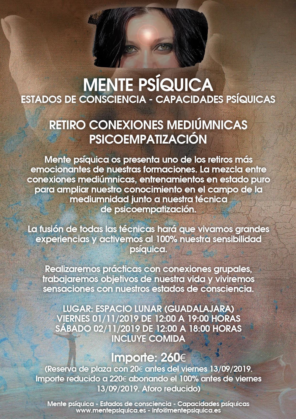 Retiro Conexiones Mediúmnicas y Psicoempatización (Día 1) @ Mente psíquica