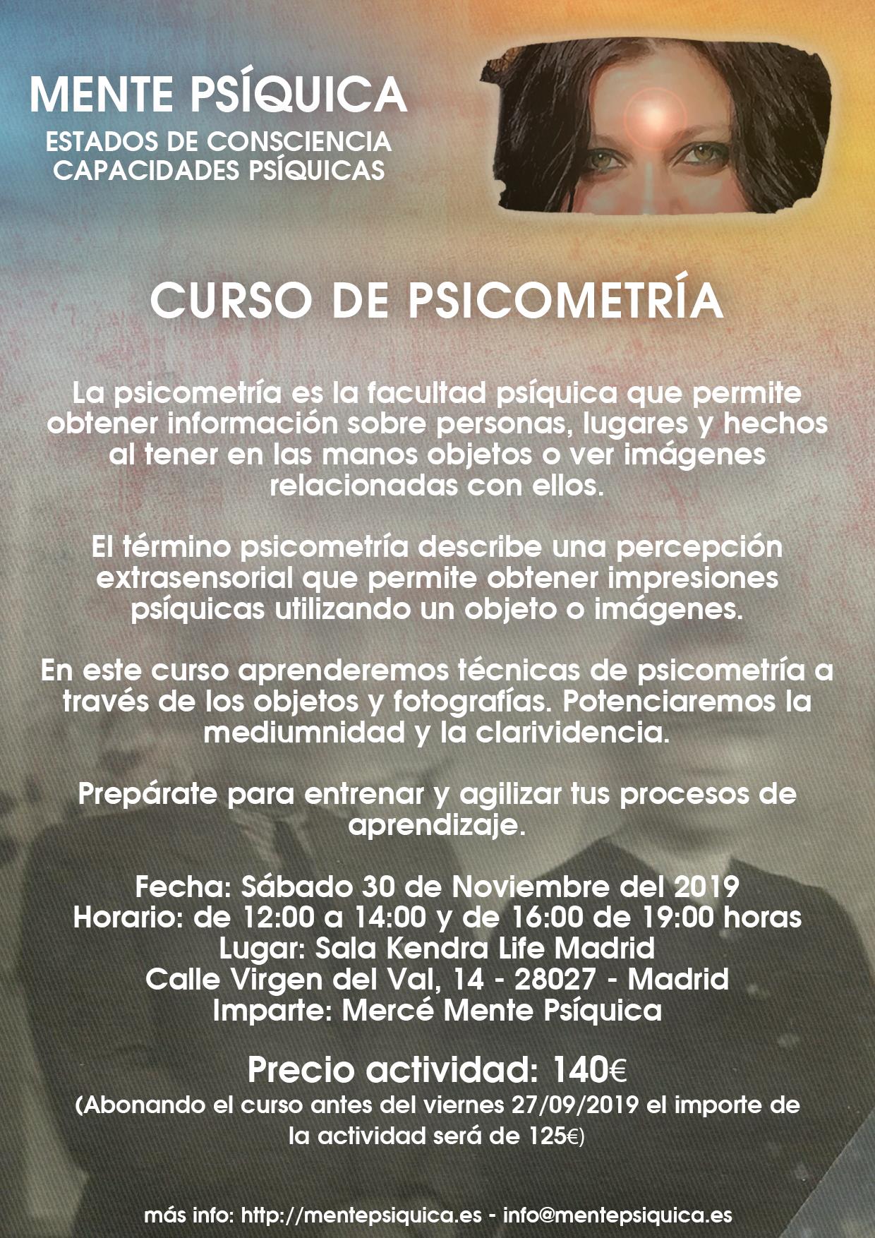 Curso de psicometría @ Sala Kendra Life Madrid